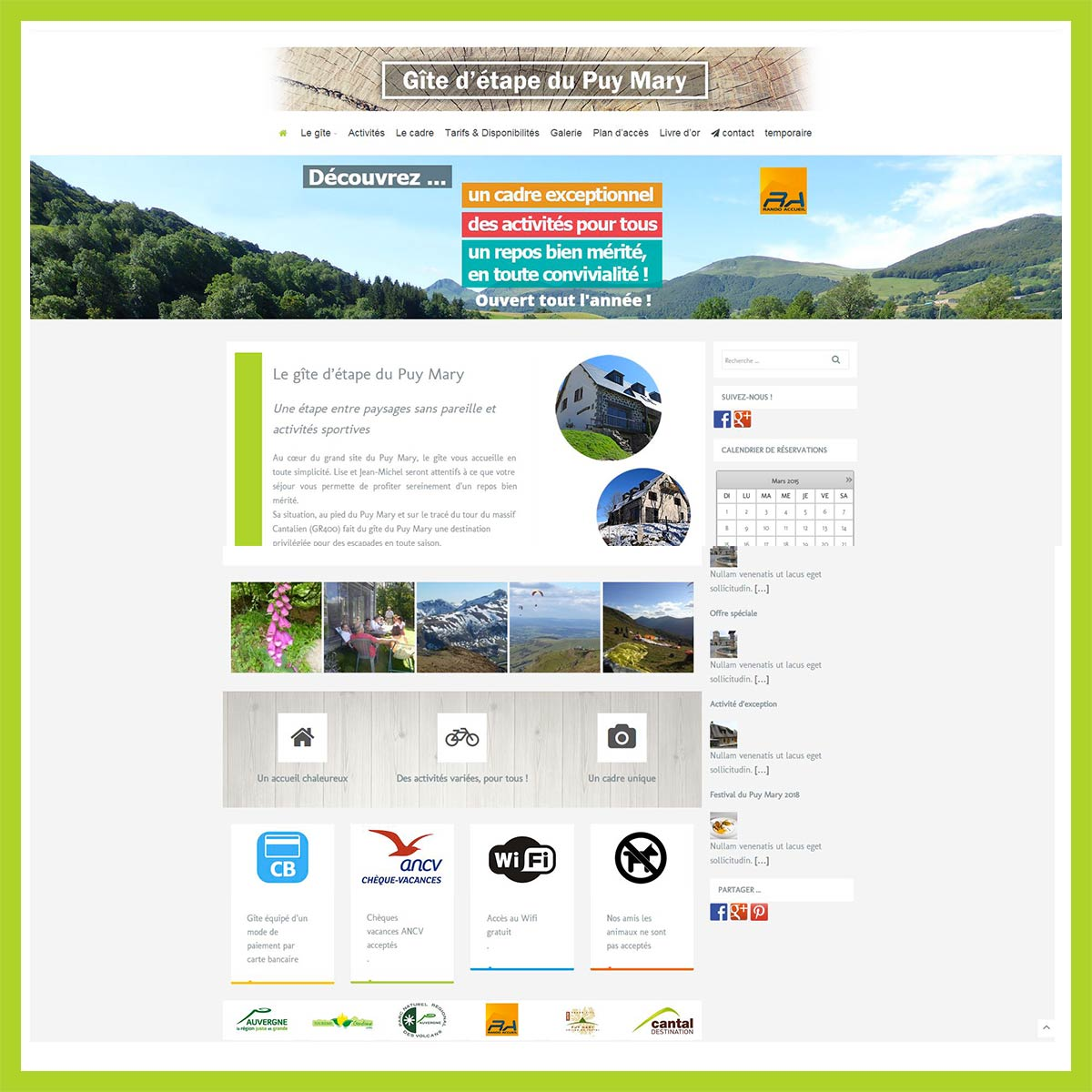 Gite etape du Puy Mary, site web par l'Agence de Com'